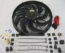 14 Heavy Duty S-Blade Electric Radiator Cooling Fan + Thermostat & Mounting Kit