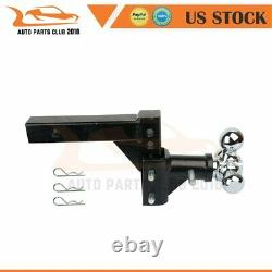 1Pcs Tow Towing Trailer Hitch Ball Mount 2 Steel Three Ball Heavy Duty Black