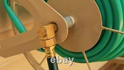 200 Ft Garden Water Hose Reel Steel Wall Mount Lawn Yard Storage Heavy Duty Tan