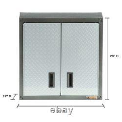 28 in Garage Wall Cabinet Tool Box Storage Organizer Silver Tread Heavy Duty New