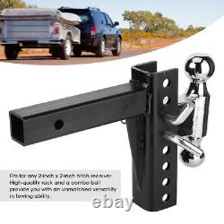 2 Receiver Trailer Hitch Adjustable Ball Mount 6-1/2-in Drop Towing Heavy Duty