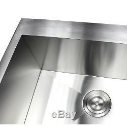 33 inch Stainless Steel Heavy Duty Top Mount 3 Hole Kitchen Sink Zero Radius 16G
