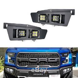 80W Dual-Cubic LED Fog Light Kit For 17-up Raptor, Incl Metal Fog Frame, Relay