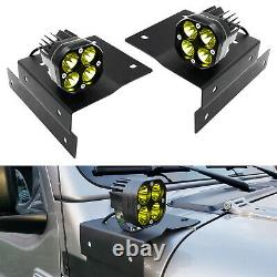 A-Pillar Yellow LED Pod Lights withBracket, Relay For 18+ Jeep Wrangler/Gladiator