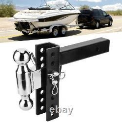 Adjustable Drop Hitch Ball Mount 2 BALL for 2 Receiver Heavy Duty Towing Traile
