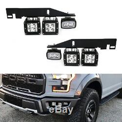 Amber/White 100W LED Lower Bumper Fog Light withBracket Wire For 17-up Ford Raptor