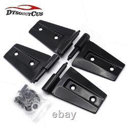 Black Door Hinge Set Heavy-duty Steel Mount For 07-18 Jeep Wrangler JK 4 Door