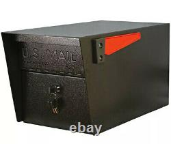 Black Steel Anti Theft Post Mount Locking Mailbox Weather Resistant Heavy Duty