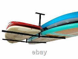 Double SUP & Surf Ceiling Storage Rack 2 Overhead Hanger Mount Boards Heavy Duty