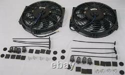 Dual 10 Heavy Duty Black S-Blade Electric Radiator Cooling Fans with Mounting Kit