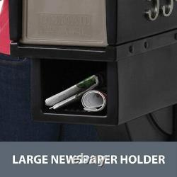 Extra Large Mailbox Rural Post Mount Pedestal Heavy Duty Rain Proof Box Black