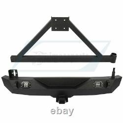 For 07-18 Jeep Wrangler JK Unlimited Rear Bumper with Tire Carrier LED Light STEEL