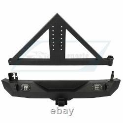 For 2007-2018 Jeep Wrangler JK Rear Bumper with Adjustable Tire Carrier D-ring Led