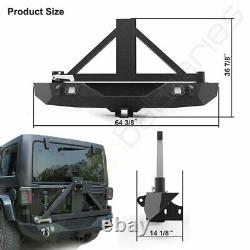 For Jeep Wrangler JK 2007-2018 Textured Rear Bumper with Tire Carrier 2x LED Pods
