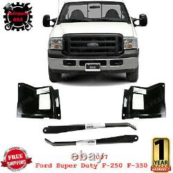 Front Bumper Bracket Outer + Mount Plate For 05-07 Ford Super Duty F-250 F-350