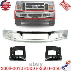 Front Bumper Chrome Steel + Mounting Brackets For 2008-2010 Ford F-250 F-350