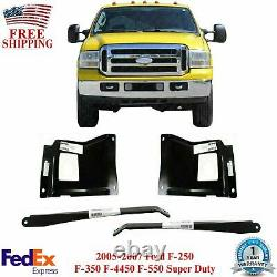 Front Bumper Outer Bracket + Mount Plates For 05-07 Ford F-250 F-350 Super Duty