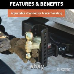Heavy Duty Hitch Ball Mount Adjustable Drop Tow Channel Style Shaft 20000 Lbs