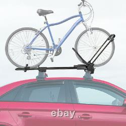 Heavy Duty Iron Car Bicycle Roof Top Frame Wheel-On Mount Bike Rack withKey & Lock