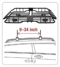 Heavy-Duty Roof Mounted Cargo Rack Car Vehicle Basket Steel Luggage Carrier New