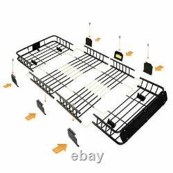 Heavy Duty Roof Rack With Extension Cargo Carrier Universal Mount Basket Luggage