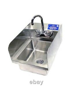 Heavy Duty Stainless Steel Wall Mount Hand Sink 12 x 12 with Side Splash NSF