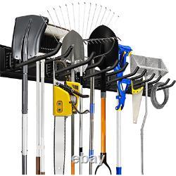 Heavy Duty Wall Mount Storage Organizer Rack Hanger With 6 Hooks 48in For Garage