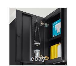 Heavy Duty Welded 20-Gauge Steel Wall Mounted Garage Cabinet in Black