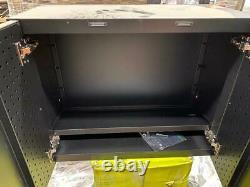 Heavy Duty Welded 20-Gauge Steel Wall Mounted Garage Cabinet in Black 28 in. W