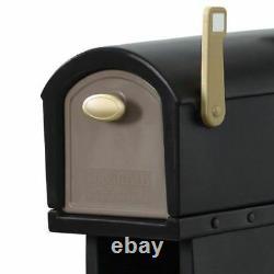 Large Rural Mailbox Post Mount Pedestal Heavy Duty Rain Overhang Mail Box Black