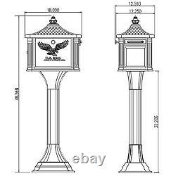 Locking Mailbox Pedestal Large Metal Black Post Mount Heavy Duty Rust Resistant