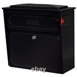Mailbox Locking Wall-Mount Indicator Large Heavy Duty Galvanized Steel Black