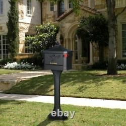 Metal Black Post Mount Mailbox with Post Pedestal Heavy Duty Cast Aluminum Stand