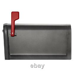 POST-MOUNT MAILBOX Gray Galvanized Steel US Mail Large Heavy-Duty 2-Door