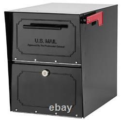 Parcel Mailbox Post Mount Security Locking Black Heavy Duty Galvanized Steel