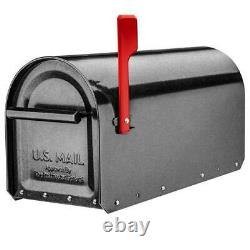 Post Mount Mailbox Fade Resistant Heavy-Duty Non-Locking Galvanized Steel Pewter