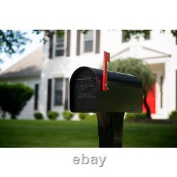 Post Mount Mailbox Ironside Large Galvanized Steel Heavy Duty Mail Box in Black