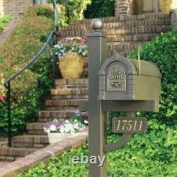 Post Mount Mailbox Keystone Heavy Duty Die-Cast Aluminum, Bronze/Antique Bronze