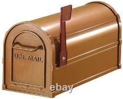Post Mount Mailbox Rural Antique, Heavy-Duty Aluminum, 7.5 x 9.5 x 20.5, Copper