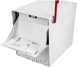 Post Mount Parcel Mailbox Classic Locking Steel with Heavy-Duty Bracket, White