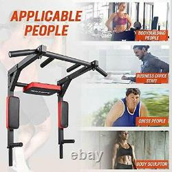 Pull Up Bar Dip Stand Ab Station Wall Mounted Multi Gym Rack Heavy Duty NEW