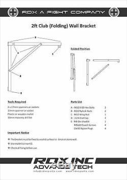RDX Heavy Duty 2ft Folding Punching Bag Wall Bracket Steel Mount Hanging Stand U