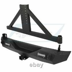 Rear Bumper steel guard with Tire Carrier + LED Lights for 07-18 Jeep Wrangler JK