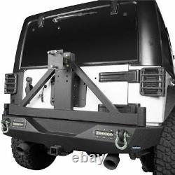 Rear Bumper with Adjustable Tire Carrier LED Lights for 07-18 Jeep Wrangler JK
