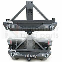 Rear Bumper with Hitch Receiver Spare Tire Rack LED Lights for 07-18 Jeep Wrangler