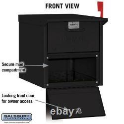 Roadside Mailbox Flag Post-Mount Extra Large Locking Heavy-Duty Aluminum Black