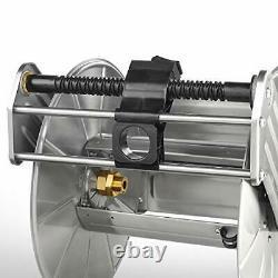 Stainless Steel Garden Hose Reel Heavy Duty Wall/Floor Mounted Metal Water Ho