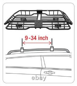 TYGER Roof Mounted Cargo Basket Luggage Carrier Rack Heavy Duty L47xW37xH6