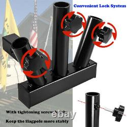 Universal Heavy Duty 3 Flag Pole Holder 2Hitch Mount for Truck SUV Trailer Jeep