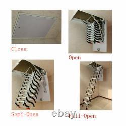 Wall Mounted Folding Ladder Loft Stairs Black Heavy Duty Steel Metal House Home